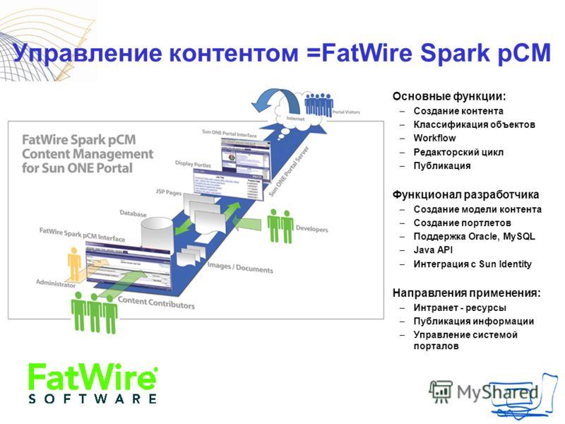 Управление контентом =FatWire Spark pCM Основные функции: –Создание контента –Классификация объектов –Workflow –Редакторский цикл –Публикация Функционал разработчика –Создание модели контента –Создание портлетов –Поддержка Oracle, MySQL –Java API –Ин