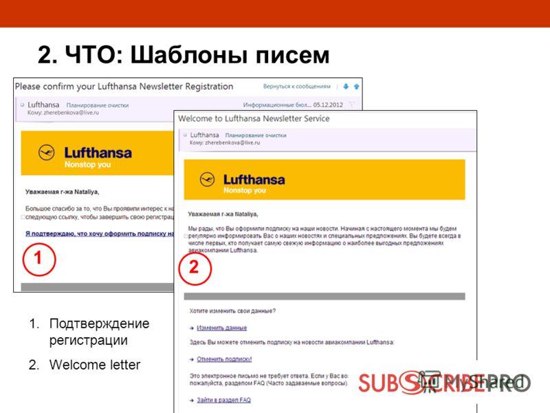 1 2 1.Подтверждение регистрации 2.Welcome letter