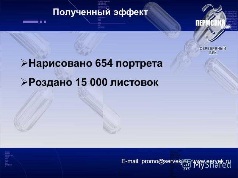E-mail: promo@servek.ru, www.servek.ru Полученный эффект Нарисовано 654 портрета Роздано 15 000 листовок