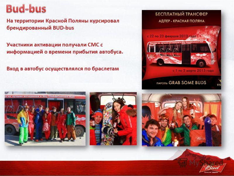 На территории Красной Поляны курсировал брендированный BUD-bus Участники активации получали СМС с информацией о времени прибытия автобуса. Вход в автобус осуществлялся по браслетам