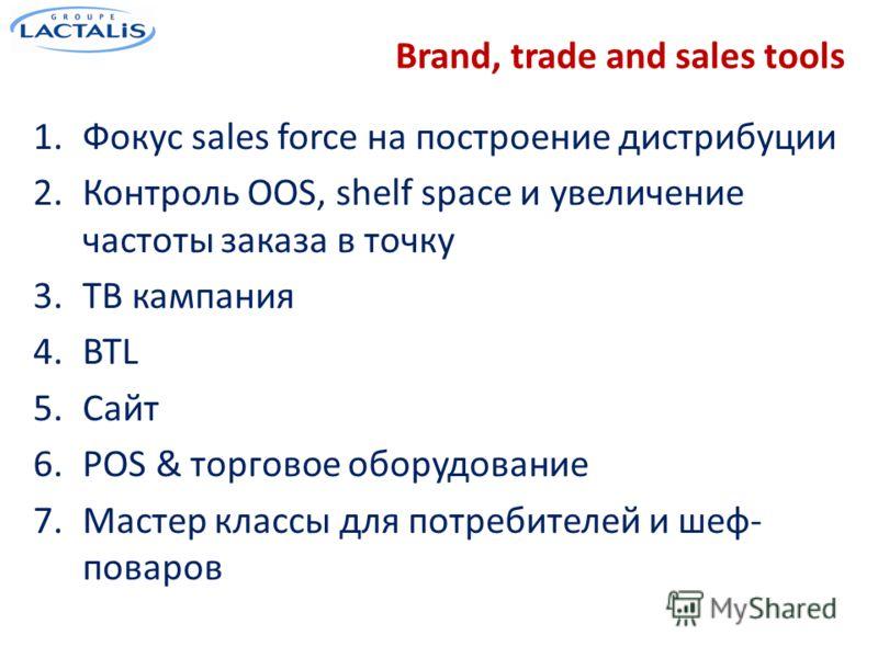 Brand, trade and sales tools 1.Фокус sales force на построение дистрибуции 2.Контроль OOS, shelf space и увеличение частоты заказа в точку 3.ТВ кампания 4.BTL 5.Сайт 6.POS & торговое оборудование 7.Мастер классы для потребителей и шеф- поваров