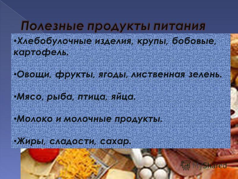 Хлебобулочные изделия, крупы, бобовые, картофель. Овощи, фрукты, ягоды, лиственная зелень. Мясо, рыба, птица, яйца. Молоко и молочные продукты. Жиры, сладости, сахар.