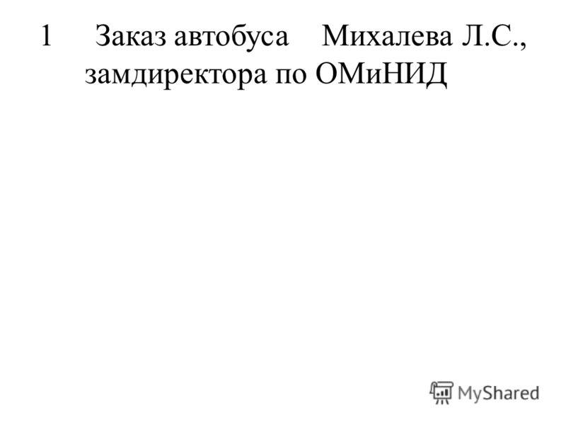 1Заказ автобусаМихалева Л.С., замдиректора по ОМиНИД