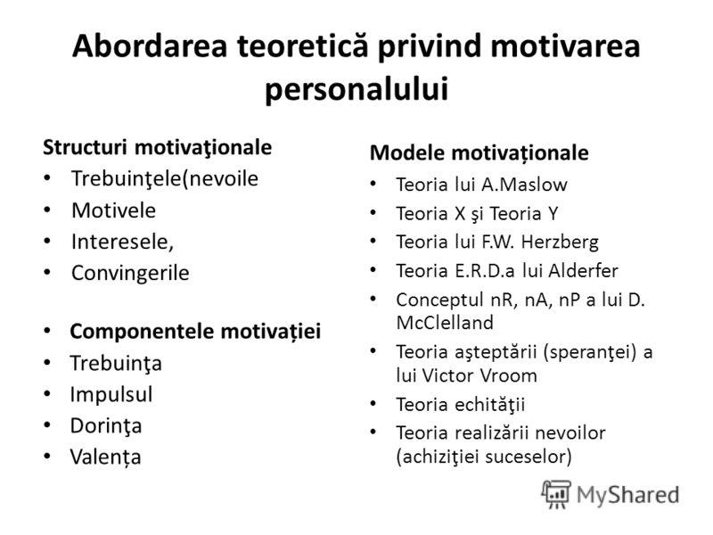 Abordarea teoretic ă privind motivarea personalului Structuri motivaţionale Trebuinţele(nevoile Motivele Interesele, Convingerile Componentele motivației Trebuinţa Impulsul Dorinţa Valența Modele motivaționale Teoria lui A.Maslow Teoria X şi Teoria Y