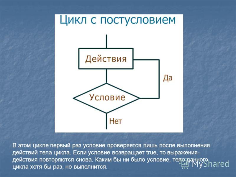 В этом цикле первый раз условие проверяется лишь после выполнения действий тела цикла. Если условие возвращает true, то выражения- действия повторяются снова. Каким бы ни было условие, тело данного цикла хотя бы раз, но выполнится.