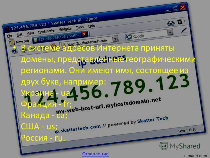 В системе адресов Интернета приняты домены, представленные географическими регионами. Они имеют имя, состоящее из двух букв, например: Украина - ua Франция - fr; Канада - са; США - us; Россия - ru. Оглавление