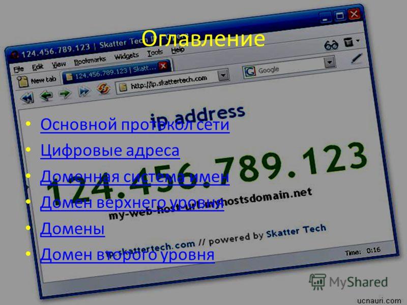 Оглавление Основной протокол сети Цифровые адреса Доменная система имен Домен верхнего уровня Домены Домен второго уровня