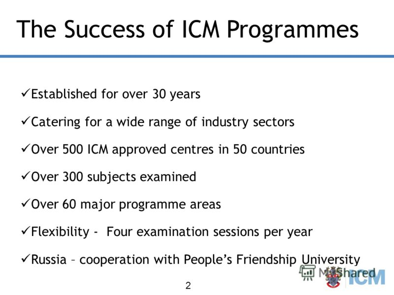 The Success of ICM Programmes Established for over 30 years Catering for a wide range of industry sectors Over 500 ICM approved centres in 50 countries Over 300 subjects examined Over 60 major programme areas Flexibility - Four examination sessions p