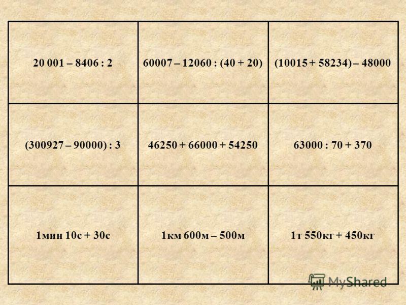 60007 – 12060 : (40 + 20)20 001 – 8406 : 2 Е г и п е т 1т 550кг + 450кг1км 600м – 500м1мин 10с + 30с 63000 : 70 + 37046250 + 66000 + 54250(300927 – 90000) : 3 (10015 + 58234) – 48000