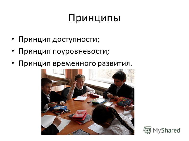 Принципы Принцип доступности; Принцип поуровневости; Принцип временного развития.