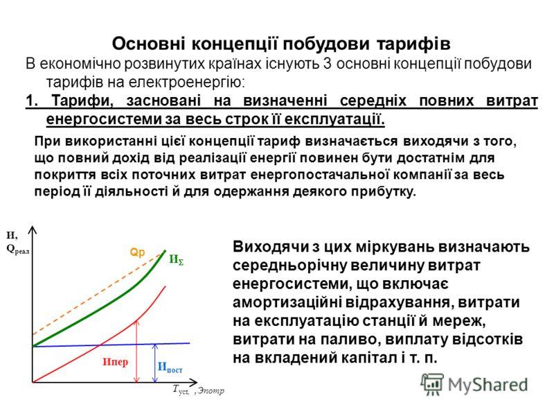Основні концепції побудови тарифів В економічно розвинутих країнах існують 3 основні концепції побудови тарифів на електроенергію: 1. Тарифи, засновані на визначенні середніх повних витрат енергосистеми за весь строк її експлуатації. При використанні