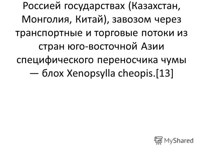 Для России ситуация осложняется ежегодным выявлением новых заболевших в сопредельных с Россией государствах (Казахстан, Монголия, Китай), завозом через транспортные и торговые потоки из стран юго-восточной Азии специфического переносчика чумы блох Xe