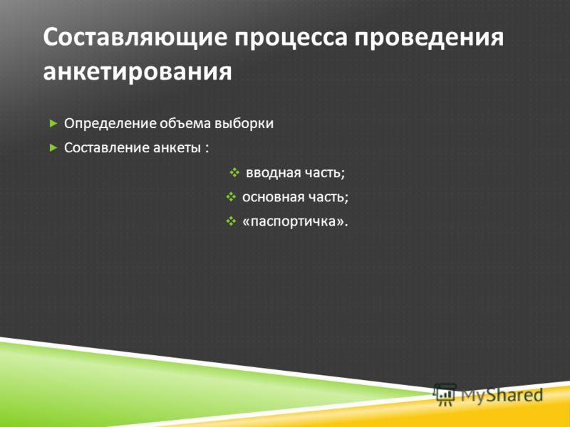 Составляющие процесса проведения анкетирования Определение объема выборки Составление анкеты : вводная часть ; основная часть ; « паспортичка ».