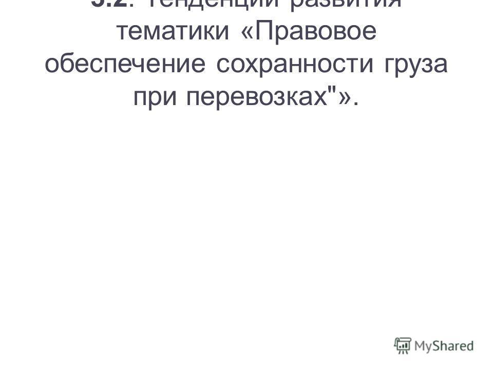 3.2. Тенденции развития тематики «Правовое обеспечение сохранности груза при перевозках».