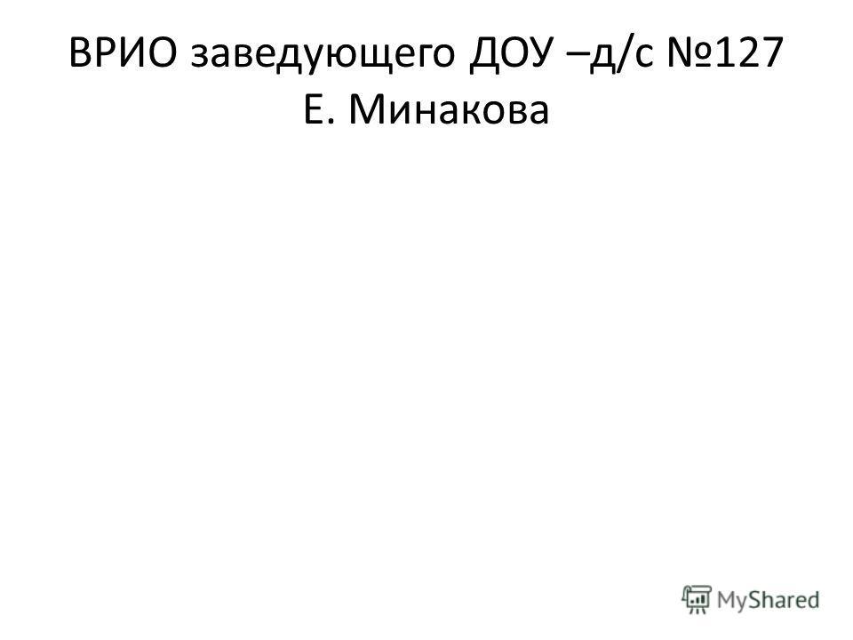ВРИО заведующего ДОУ –д/с 127 Е. Минакова