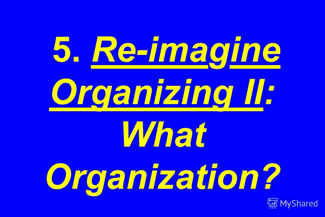 5. Re-imagine Organizing II: What Organization?