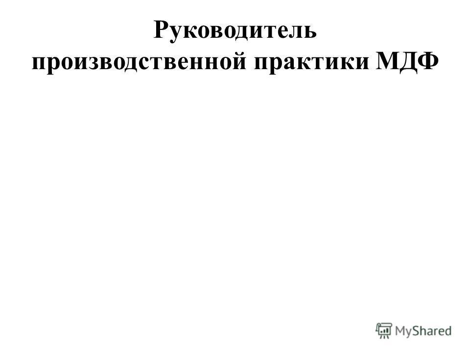 Руководитель производственной практики МДФ