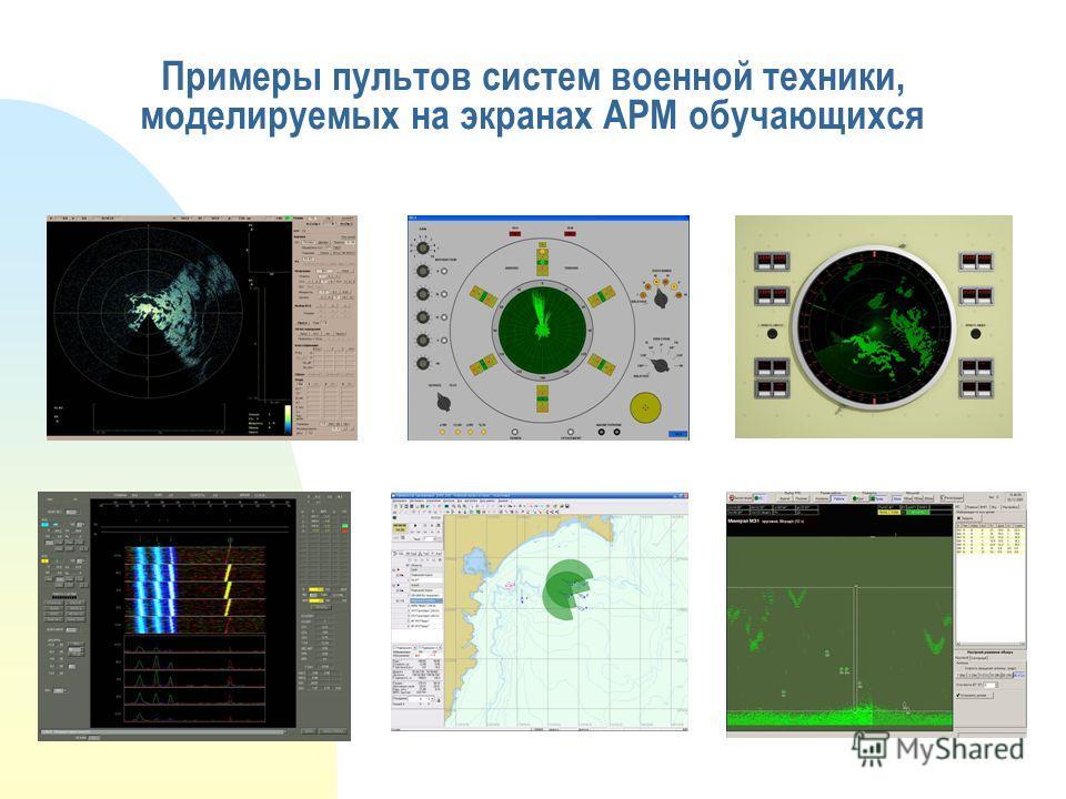 Примеры пультов систем военной техники, моделируемых на экранах АРМ обучающихся