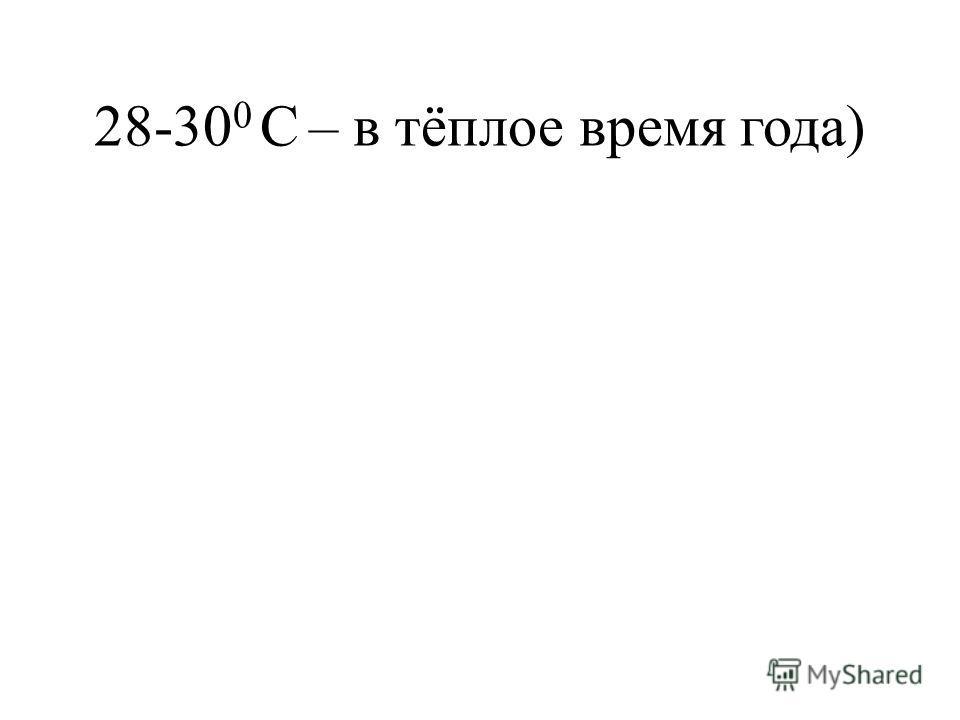 28-30 0 С – в тёплое время года)