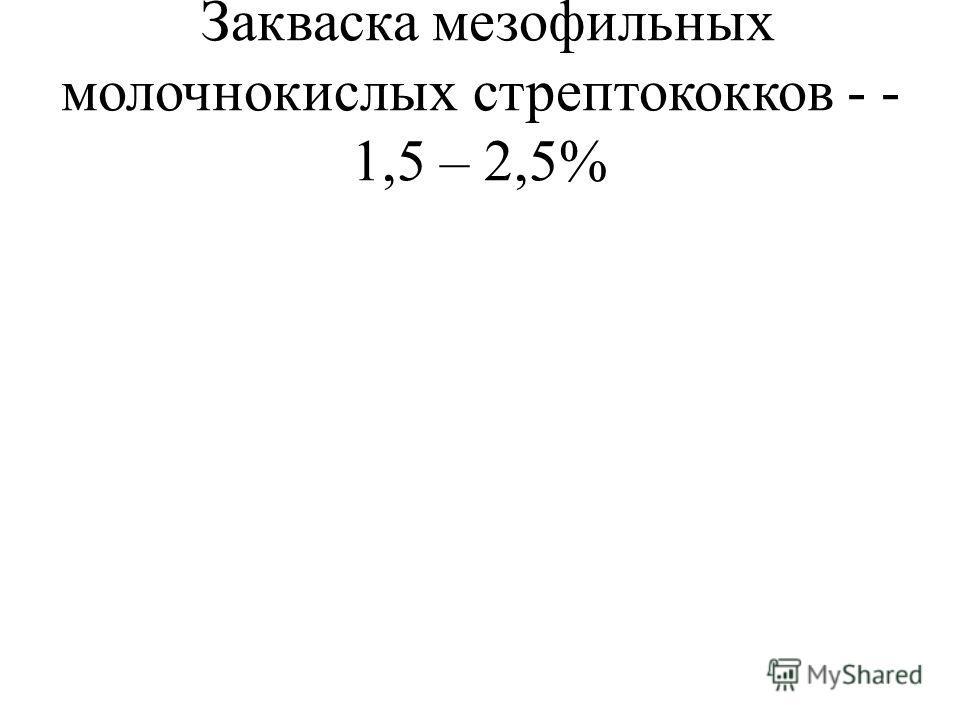 Закваска мезофильных молочнокислых стрептококков - - 1,5 – 2,5%