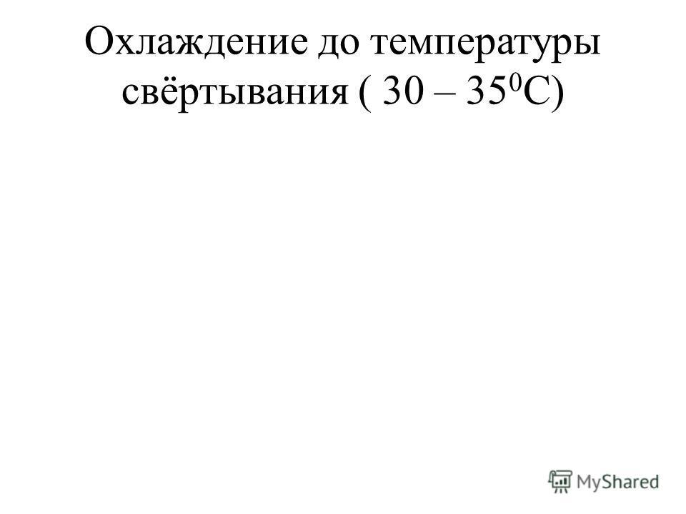 Охлаждение до температуры свёртывания ( 30 – 35 0 С)