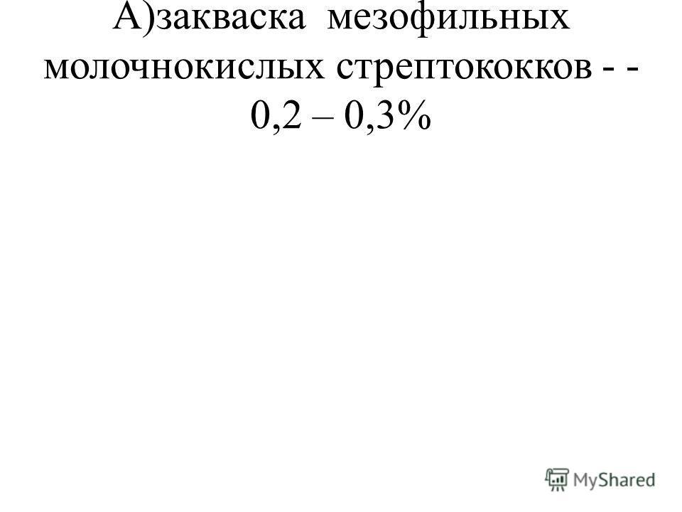 А)закваска мезофильных молочнокислых стрептококков - - 0,2 – 0,3%
