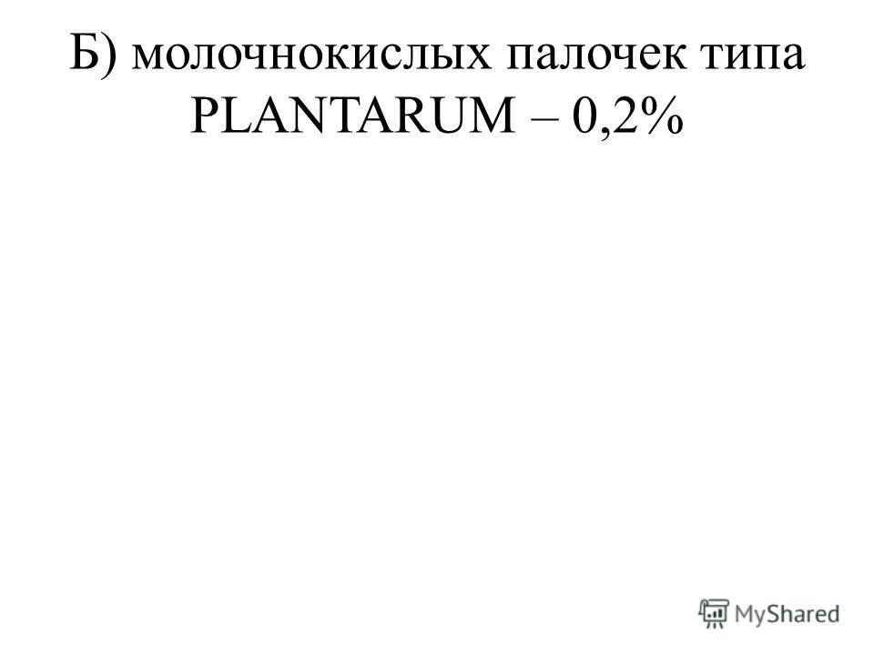 Б) молочнокислых палочек типа PLANTARUM – 0,2%