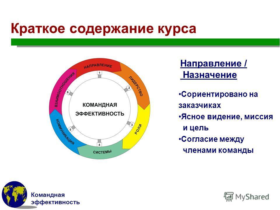 Командная эффективность Краткое содержание курса Направление / Назначение Сориентировано на заказчиках Ясное видение, миссия и цель Согласие между членами команды