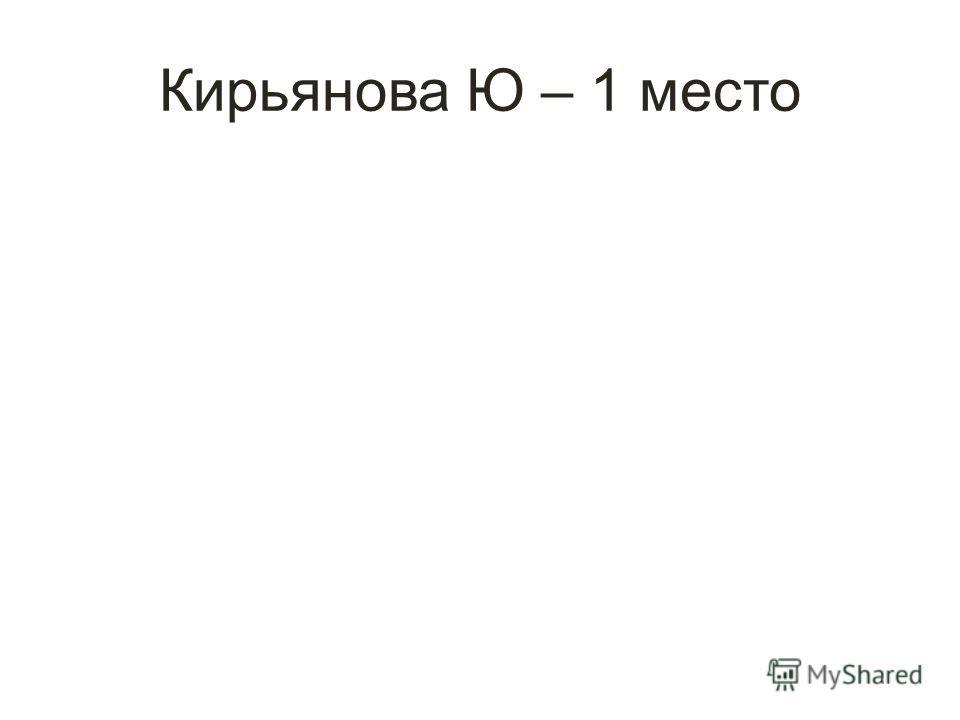 Кирьянова Ю – 1 место