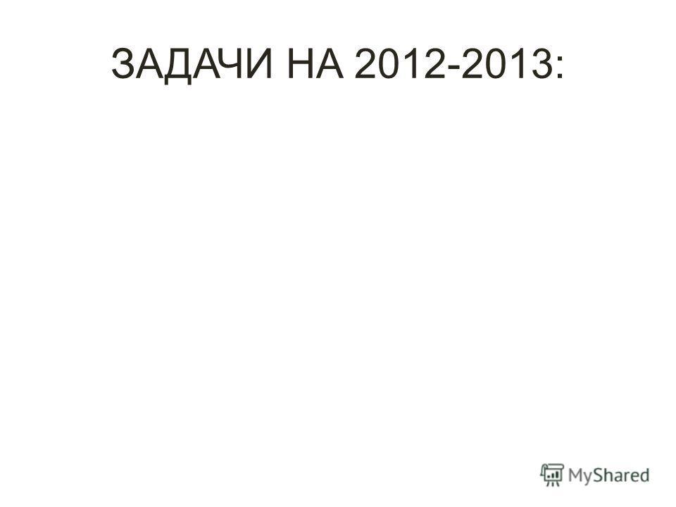 ЗАДАЧИ НА 2012-2013: