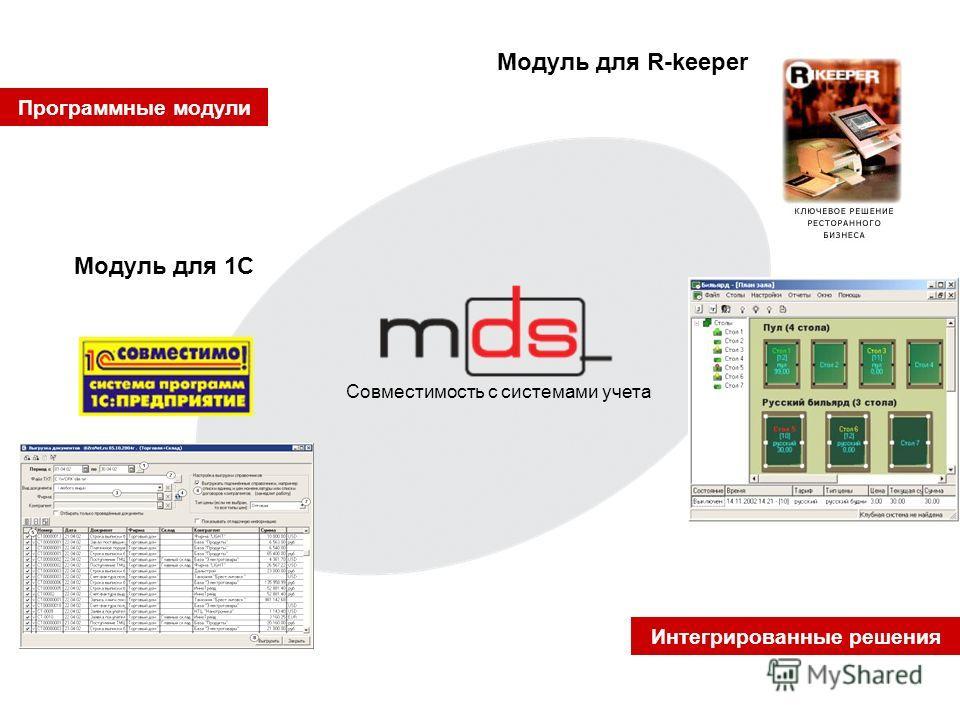 Программные модули Интегрированные решения Совместимость с системами учета Модуль для 1С Модуль для R-keeper
