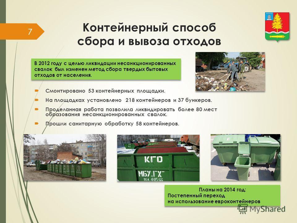 Контейнерный способ сбора и вывоза отходов Смонтировано 53 контейнерных площадки. На площадках установлено 218 контейнеров и 37 бункеров. Проделанная работа позволила ликвидировать более 80 мест образования несанкционированных свалок. Прошли санитарн