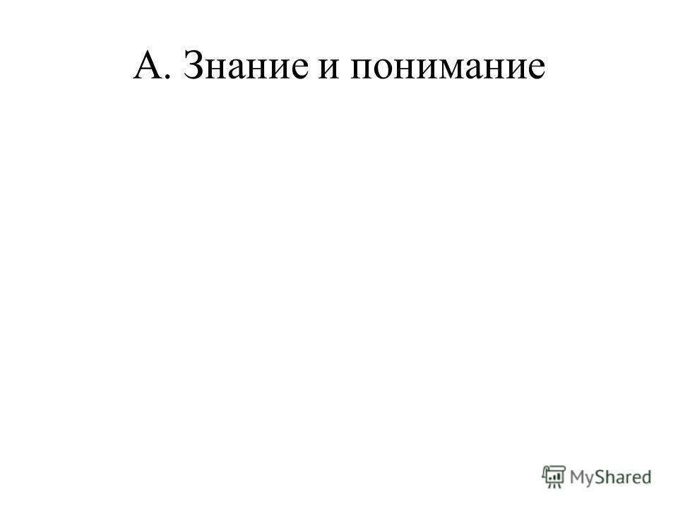 A. Знание и понимание