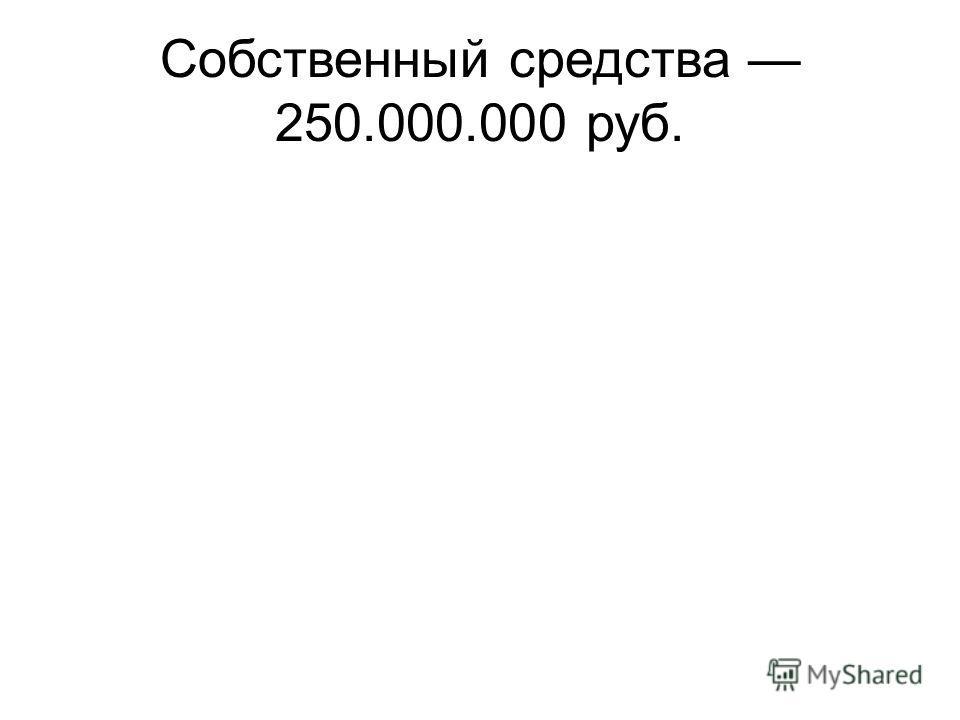 Собственный средства 250.000.000 руб.