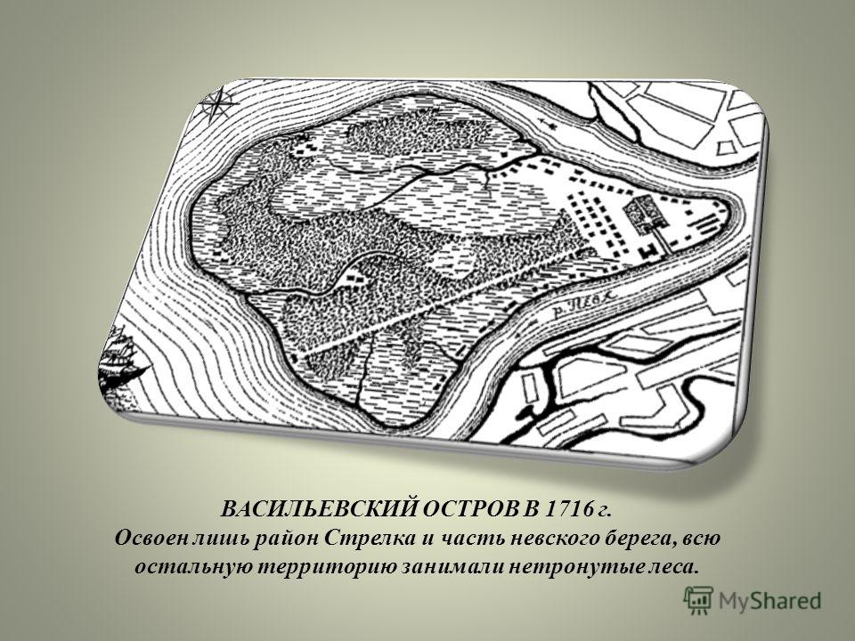 . ВАСИЛЬЕВСКИЙ ОСТРОВ В 1716 г. Освоен лишь район Стрелка и часть невского берега, всю остальную территорию занимали нетронутые леса.