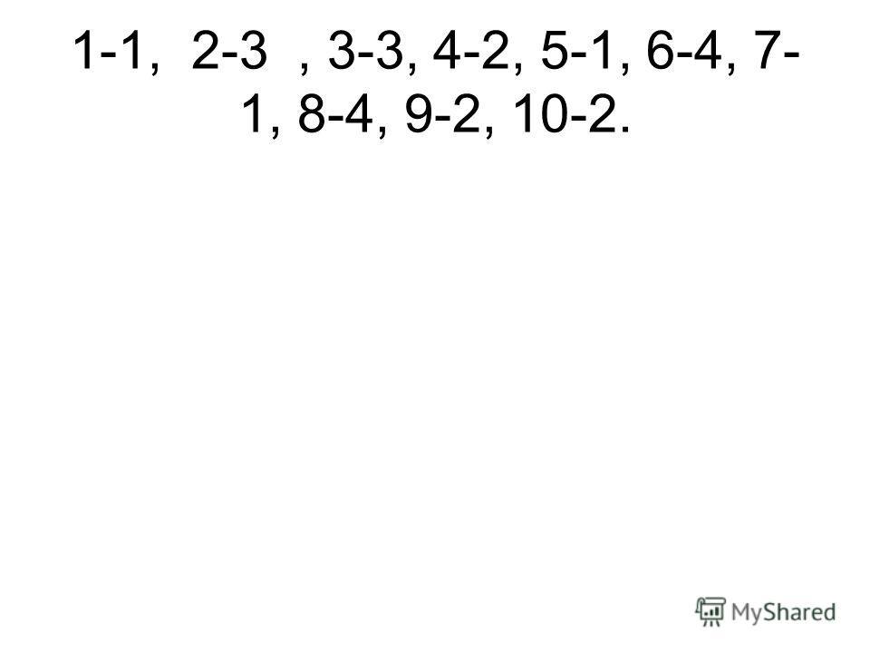 1-1, 2-3, 3-3, 4-2, 5-1, 6-4, 7-1, 8- 4, 9-2, 10-2.