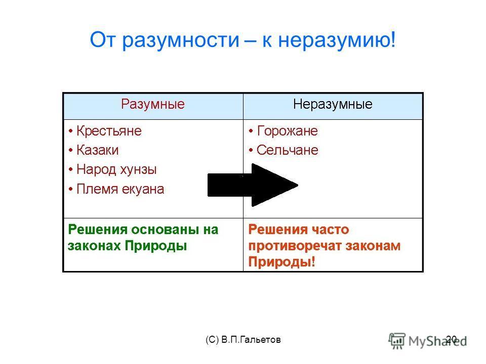 (C) В.П.Гальетов20 От разумности – к неразумию!
