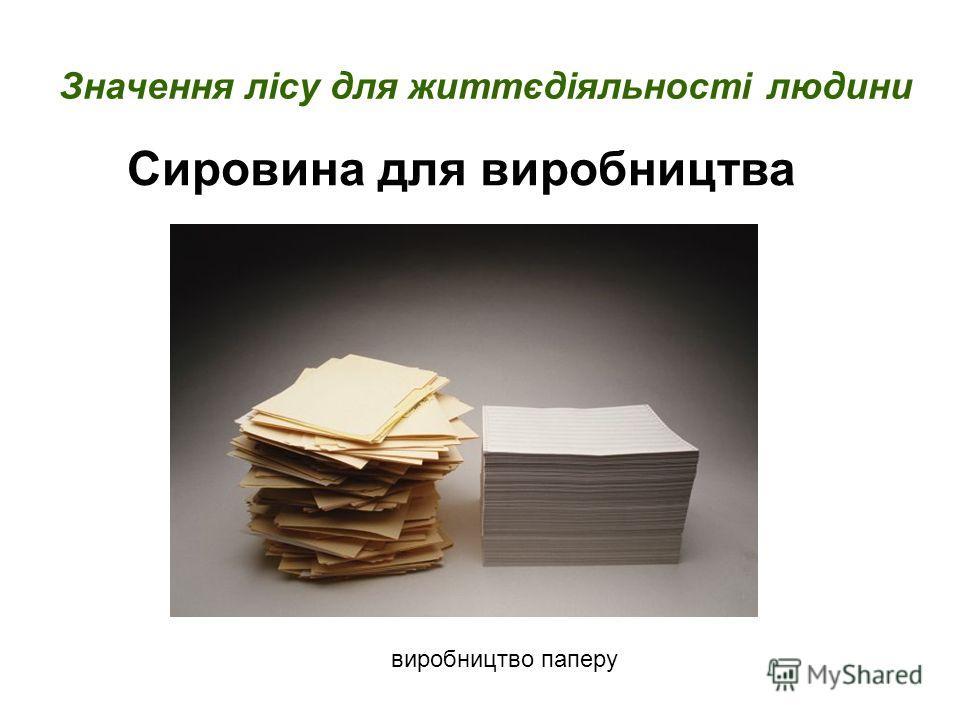 Сировина для виробництва Значення лісу для життєдіяльності людини виробництво паперу