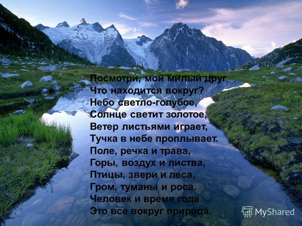 Посмотри, мой милый друг Что находится вокруг? Небо светло-голубое, Солнце светит золотое, Ветер листьями играет, Тучка в небе проплывает. Поле, речка и трава, Горы, воздух и листва, Птицы, звери и леса, Гром, туманы и роса. Человек и время года Это