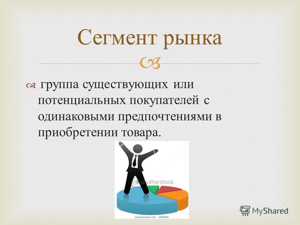 группа существующих или потенциальных покупателей с одинаковыми предпочтениями в приобретении товара. Сегмент рынка