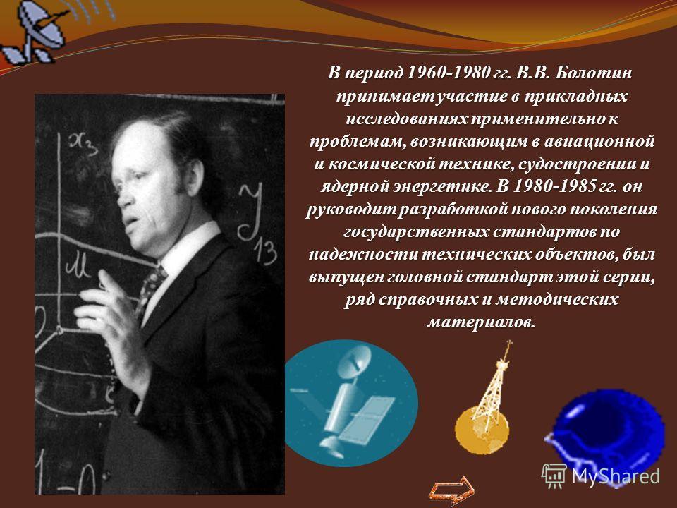 В период 1960-1980 гг. В.В. Болотин принимает участие в прикладных исследованиях применительно к проблемам, возникающим в авиационной и космической технике, судостроении и ядерной энергетике. В 1980-1985 гг. он руководит разработкой нового поколения