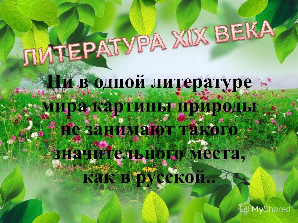 Ни в одной литературе мира картины природы не занимают такого значительного места, как в русской..