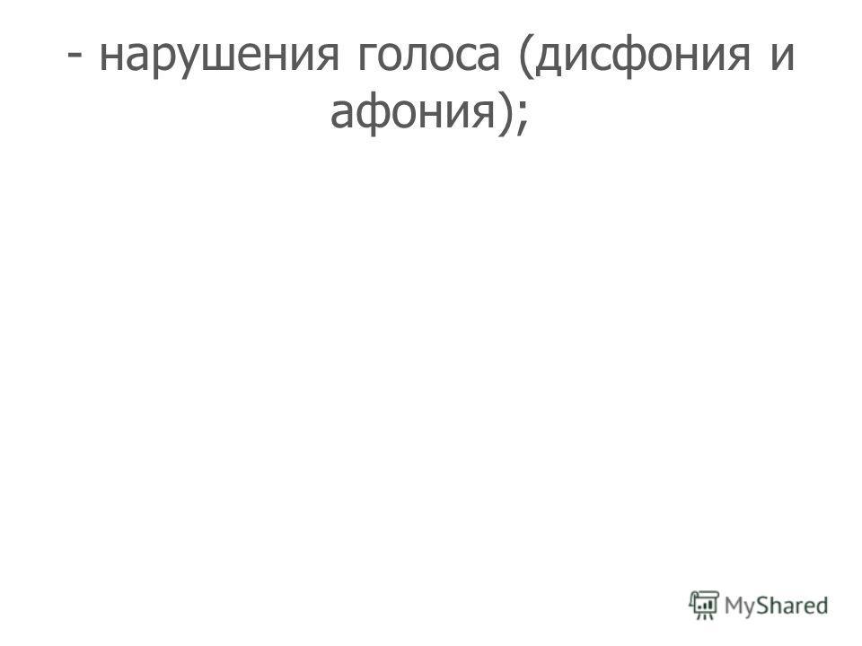 - нарушения голоса (дисфония и афония);