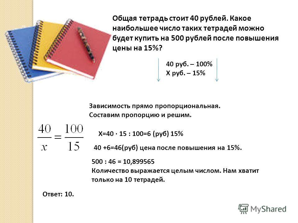 Общая тетрадь стоит 40 рублей. Какое наибольшее число таких тетрадей можно будет купить на 500 рублей после повышения цены на 15%? 40 руб. – 100% Х руб. – 15% Зависимость прямо пропорциональная. Составим пропорцию и решим. Х=40 · 15 : 100=6 (руб) 15%