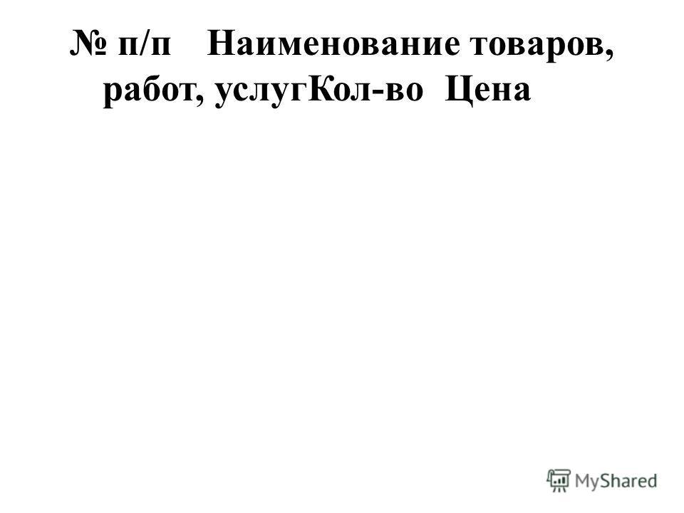 п/пНаименование товаров, работ, услугКол-воЦена