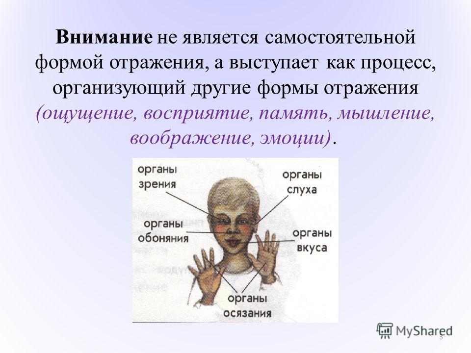 3 Внимание не является самостоятельной формой отражения, а выступает как процесс, организующий другие формы отражения (ощущение, восприятие, память, мышление, воображение, эмоции).