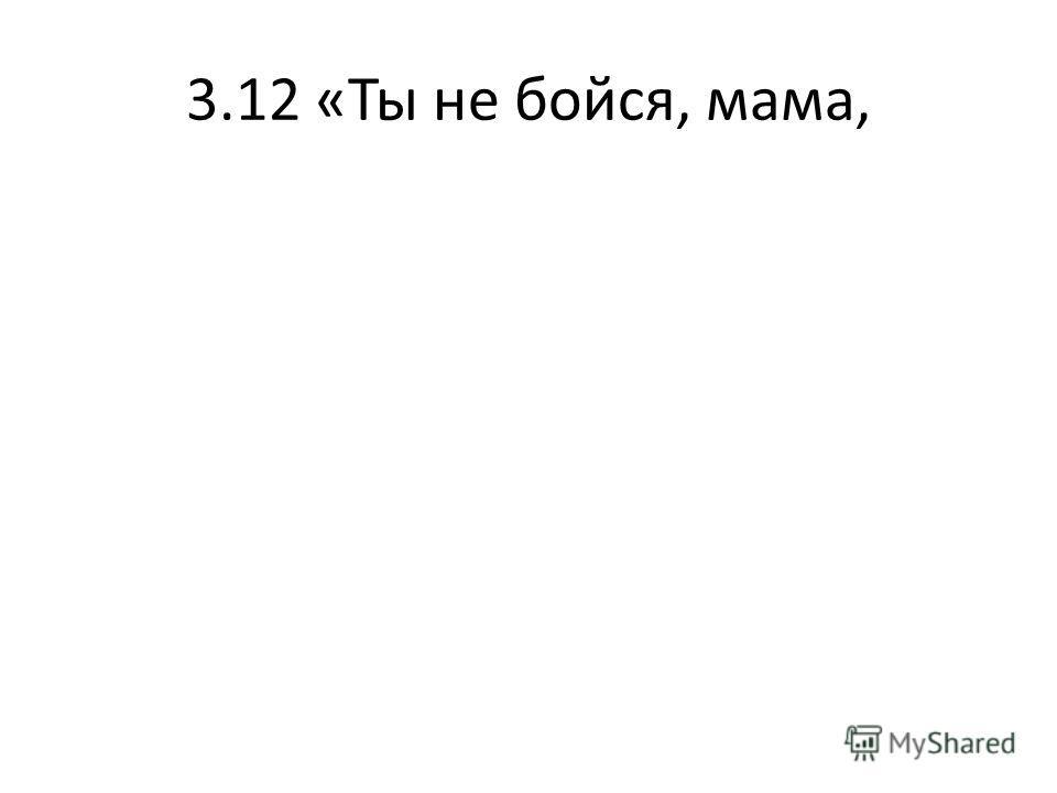 3.12 «Ты не бойся, мама,