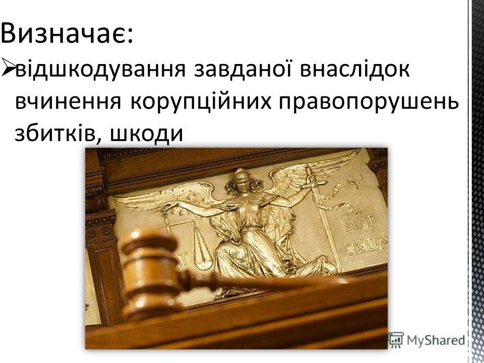 Визначає: відшкодування завданої внаслідок вчинення корупційних правопорушень збитків, шкоди