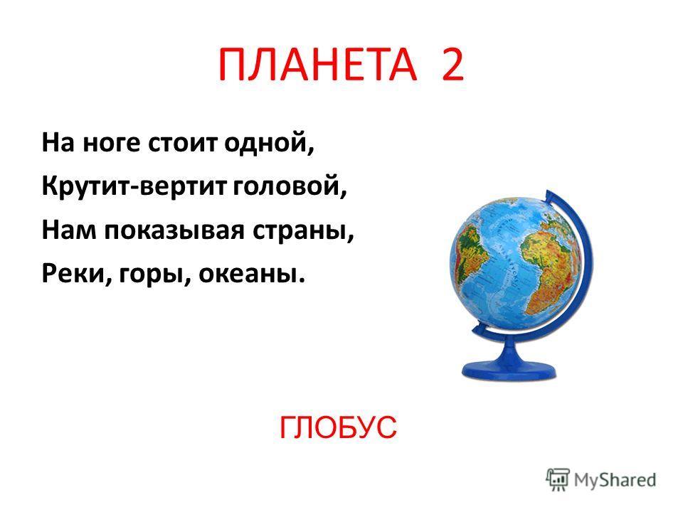 ПЛАНЕТА 2 На ноге стоит одной, Крутит-вертит головой, Нам показывая страны, Реки, горы, океаны. ГЛОБУС