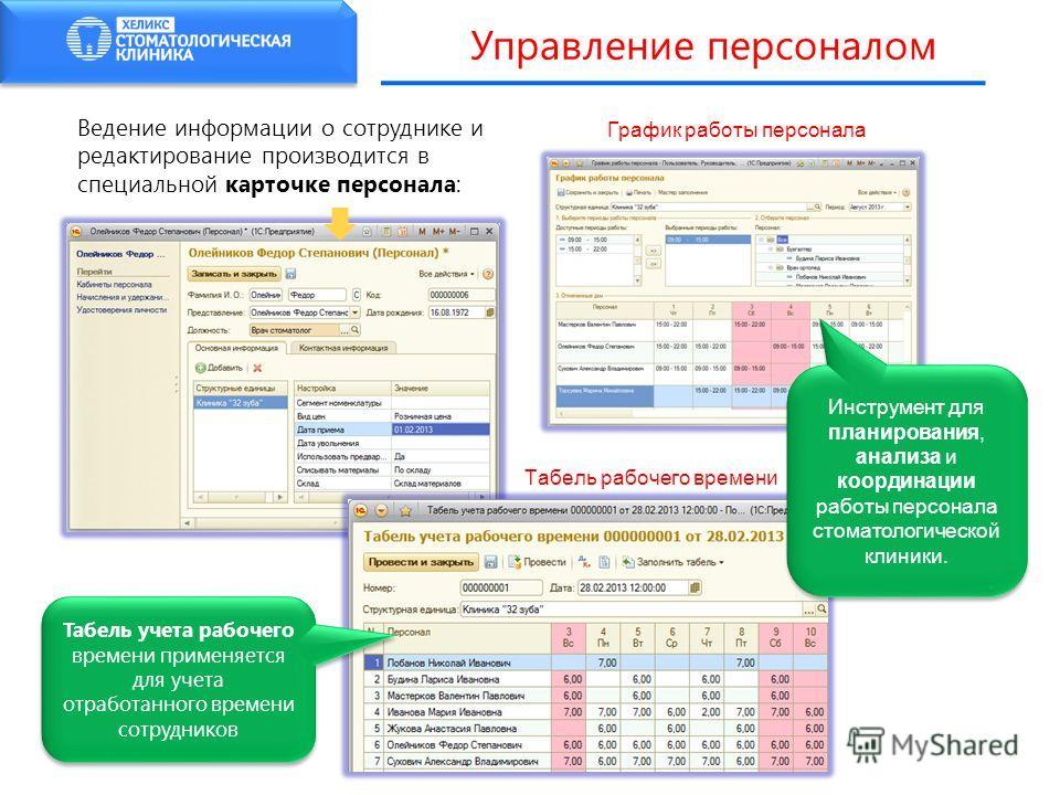 Управление персоналом Ведение информации о сотруднике и редактирование производится в специальной карточке персонала: Табель рабочего времени Табель учета рабочего времени применяется для учета отработанного времени сотрудников График работы персонал